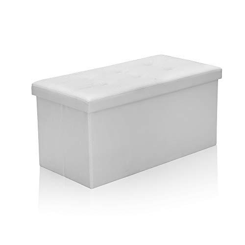 Hengda Sitzbank mit Stauraum, Sitzhocker, Sitztruhe, faltbar, PVC Aufbewahrungsbox, Fußablage, 80 L, belastbar bis 300 kg, 76 x 38 x 38 cm, Weiß