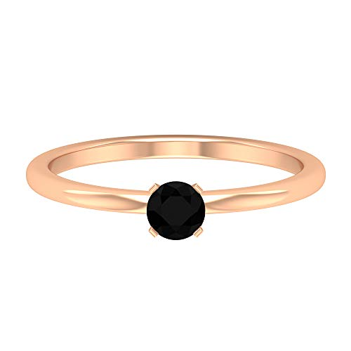 Anillo solitario simple de diamante negro creado en laboratorio de 1/2 CT (calidad de reliquia), 14K Oro rosa, Size:EU 53