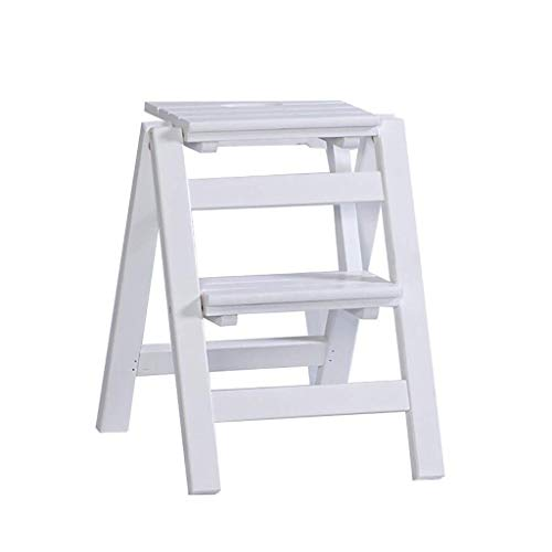 N/Z Daily Equipment Wooden Step Stool Folding Ladder Stool Solid Wood Flower Shelf Stand Household Wooden Ladder Multifunction Indoor Ascend Ladder (Color : A)