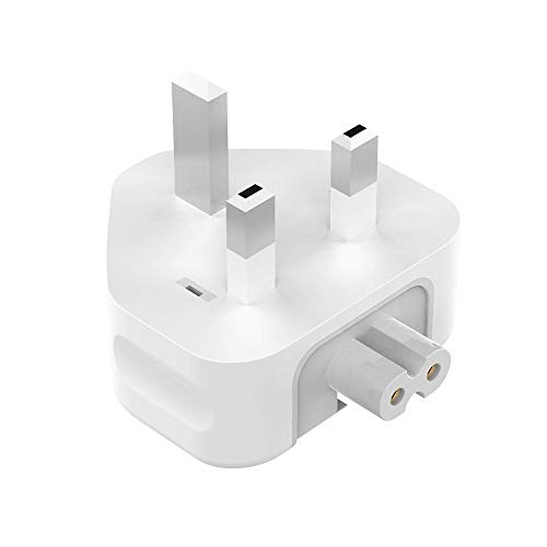 AC Power Adapter Charger Plug, DGTRD 3 Pin UK Standard Duck Head Wall Adaptor Charge Replacement Plug for Macbook/Macbook Pro/Macbook Air/Mac Ibook/Iphone/Ipod/Ipad Pro Mini Air etc(White)