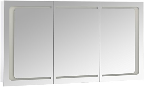 Eurosan 3-türiger Spiegelschrank, Integrierte LED-Frontbeleuchtung, Breite 120 cm, Weiß, London, L120