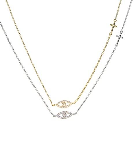 WQZYY&ASDCD Collar de mujer de plata de ley 925 con conector cruzado, Plata-cruz