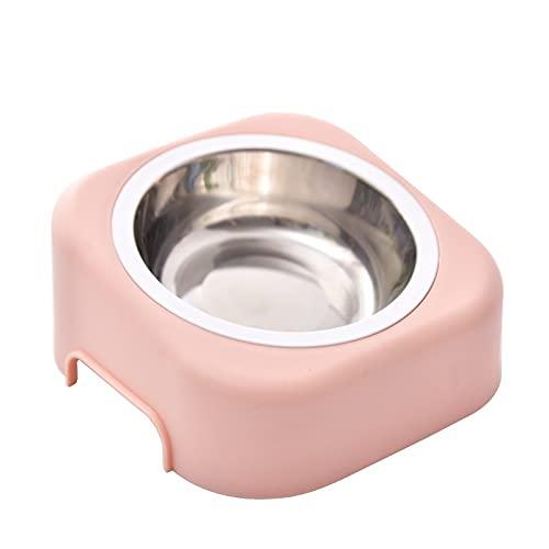 Cuenco para Perros de Acero Inoxidable, Cuenco para Gatos, diseño Oblicuo, Antideslizante y antiderrame, Rosa