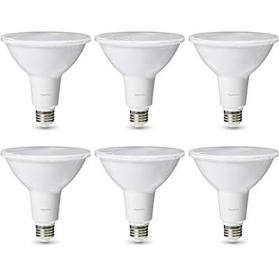 AmazonBasics Commercial Grade 25,000 Hour LED Light Bulb   90-Watt Equivalent, PAR38, 3000K White, Dimmable, 6-Pack