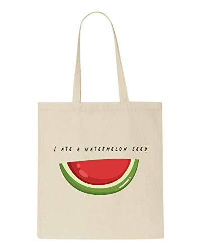 I Ate A Watermelon Seed Fruit And Vegetable Pun Jokes tote style shopping bag - natural