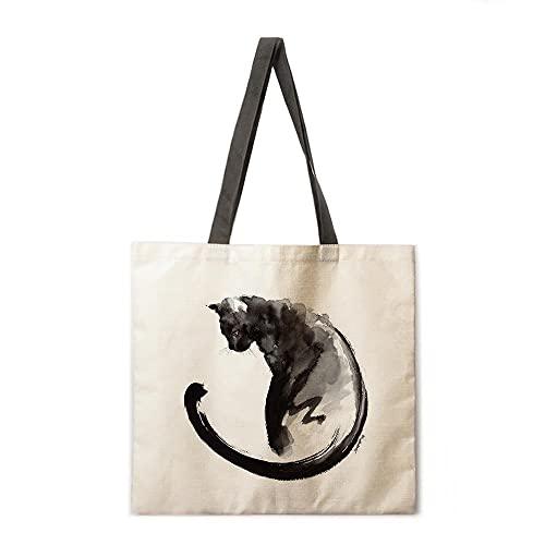 Bolso de Compras Plegable Bolso de Gato Negro Bolso de Hombro Lady Bolso de Ocio Lady Bolso de Playa al Aire Libre (Color : 7, tamaño : A)