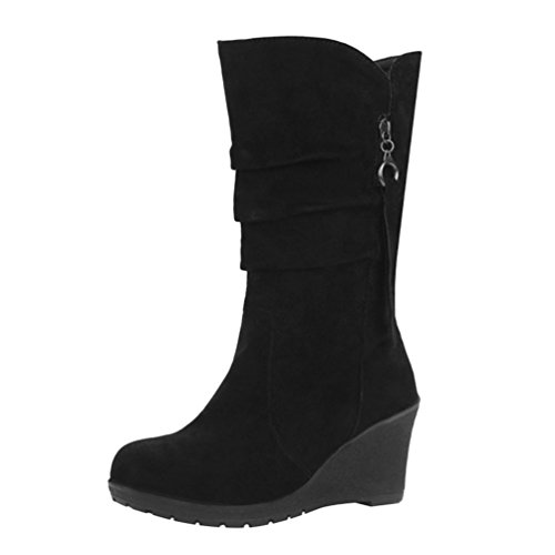 Yiiquan Damen Warme Winter Stiefel Mittlere Höhe Keilabsatz mit Reißverschluss Dekoration (Schwarz, 40 EU)