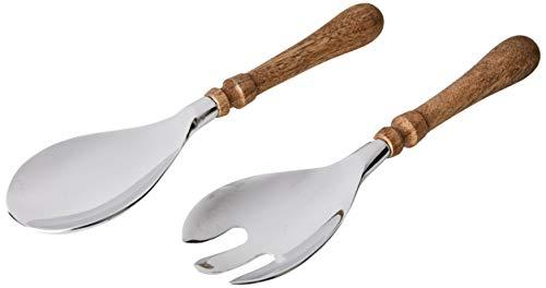 Better & Best Cuillère et Fourchette, métal/Bois, Marron, argenté 26,5 x 7 x 3 cm
