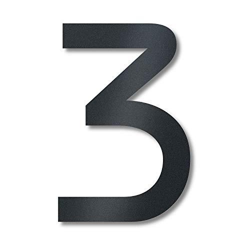 Metzler Hausnummer in Anthrazit aus massivem Stahl - RAL 7016 Anthrazitgrau Feinstruktur Pulverbeschichtet - Schrift Bauhaus - Höhe 14 cm - Ziffer 3