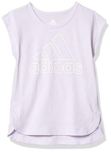 adidas Girls' Little Short Sleeve Side Slit Tee T-Shirt, Light Purple, 6X