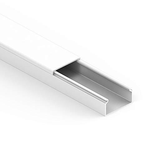 Habengut Kabelkanal (mit Montagelochung im Boden) 30x15 mm aus PVC, Farbe: Weiß , Länge 1 m