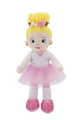 "Playtime by Eimmie Soft Rag Doll - 14"" First Baby Doll for Kids - Plush Baby Toy - Safe for All Ages (Eimmie (Ballerina))"