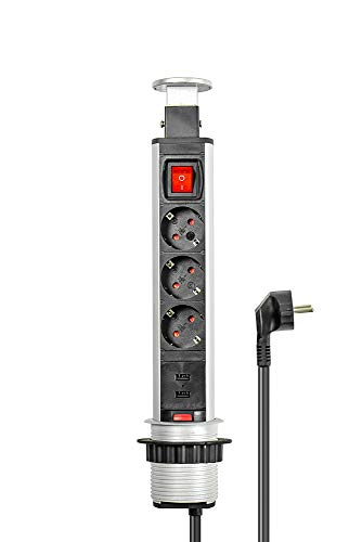Pop-Up Stekkerdoos 3+2, verzonken stekkerdoos, schakelaar, aluminium profiel, 3x beveiligde contactdoos, 2x USB