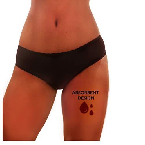 Secrets de beauté Culotte menstruelle Flux abondant Bio eco Lavable - règles Ultra absorbante Anti Fuite Toute Taille.Bambou Haute qualité Bio Peau Sensible sans Produit Chimique (XXL, Noir)