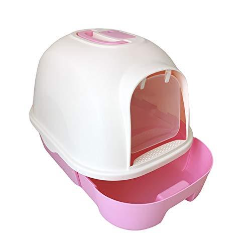 BSTL Filtro de Inodoro con Caja de Arena con Capucha para Gatos, Caja de Arena Tipo Cajón Completamente Cerrado Inodoro para Gatos, Mango Portátil, Grande, Robusto E Inodoro,Pink