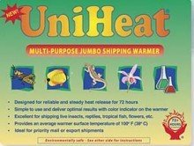 Multi-purpose jumbo 72-hour Uniheat Heat Pack for Cold Weather Shipping Plants, Live Insects, Reptiles, Tropical Fish and other temperature sensitive products. Protect products from cold weather. 3 PK
