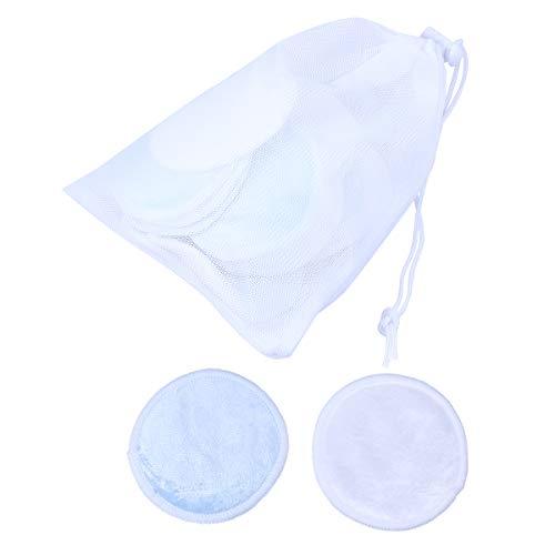 SUPVOX 17PCS fibre de bambou démaquillant tampons réutilisables doux soin du visage lavage chiffons tampons sac de lavage (bleu + blanc)