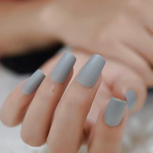 CLOAAE Light gray acrylic nails fully matte effect nail tips medium square false nails for women with adhesive tabs kit of 24 pcs