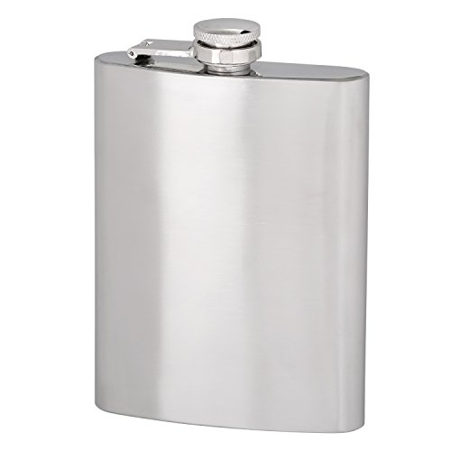 Thirsty Rhino Minum Stainless Steel Hip Flask, 8 oz, Brushed Stainless Steel (Set of 1)