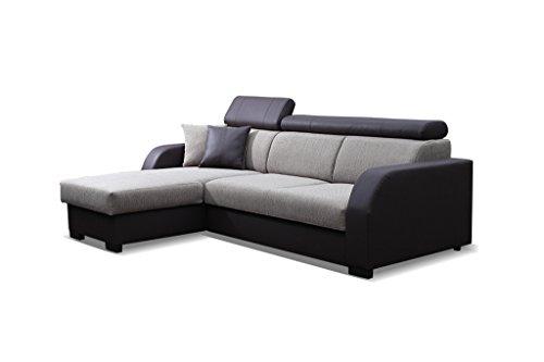 Couch mit Schlaffunktion Eckcouch Ecksofa Polstergarnitur Wohnlandschaft - COBBY (Ecksofa Links, Braun)