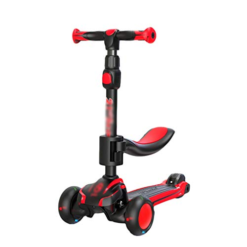 ZHIHUI Scooter Patinete Scooter de Niños Pequeños para Niños de 1 A 14 Años con Asientos Móviles 3 Ruedas Scooter Ajustable Alturas Scooter (Color : Red)