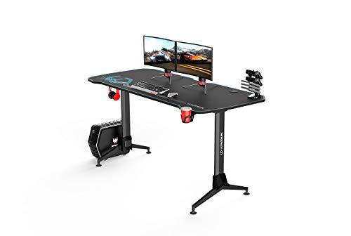 Ultradesk Grand BLAU – Sehr großer Computertisch mit Höhenverstellung, L: 160cm T: 70cm H: 70-80cm, Gaming Tisch mit Langer Platte, Schreibtisch für Gamer