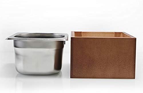 Coffee Knock Box Stainless Steel Wood drablade Box Coffee Residu Bucket Grind Waste Bin Kloppen Bucket (Color : Small wood box) Large stainless stee