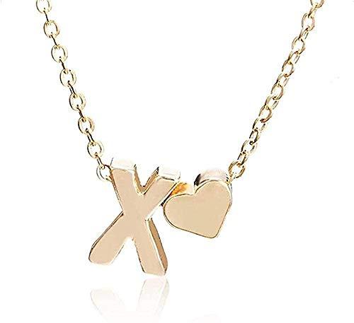 huangxuanchen co.,ltd Collar pequeño y Simple Collar de Cadena de Oro Letra AZ Oro Amor corazón Colgante Collar Mejor Regalo de cumpleaños joyería para niñas