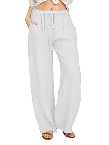 WXMSJN Pantalones Rectos De Color Puro con Cordones De Cintura EláStica para Mujer Pantalones Sueltos Pantalones Casuales