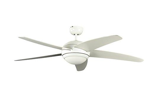 Pepeo plafondventilator met verlichting en afstandsbediening melton, behuizing lak wit, vleugelkleur wit, 132 cm