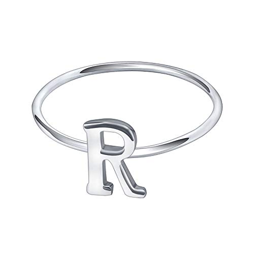AoedeJ Simple Initial Rings Capital Letter Ring 925 Sterling Silver Words Stacking Bands for Women (R, 7)