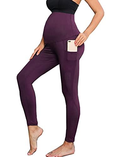 Maacie Leggings Transpirable de Yoga con Bolsillos Lados para Embarazada L Morado