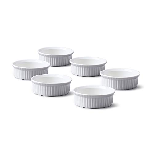 WM Bartleet & Sons 1750 TSET43 Set of 6 Traditional Porcelain Mini Ramekins 6.5cm Diameter with – White