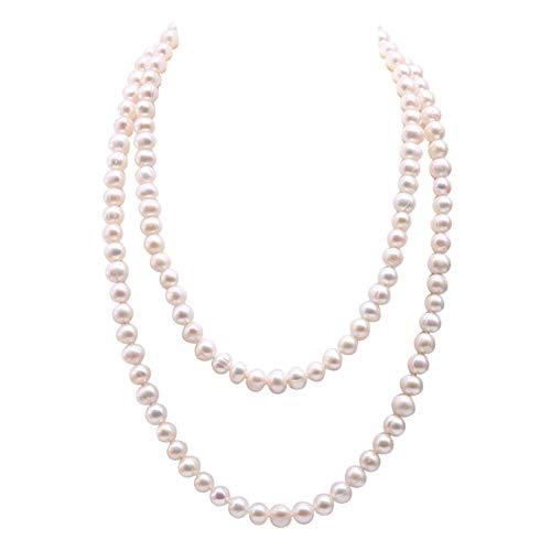 JYX perlenkette 120cm Echte Lange Weiße Perle Perlen Lange Perlenkette 9-10mm Weiß Nahe Runde Süßwasserperlenkette
