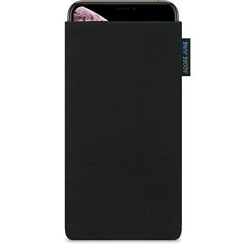 Adore June Classic Schwarz Tasche kompatibel mit Apple iPhone XR Handytasche aus beständigem Cordura Stoff mit Bildschirm Reinigungs-Effekt, Made in Europe