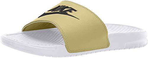 Nike Herren Benassi JDI Dusch- & Badeschuhe, Weiß (White/Black/Team Gold 108), 42 1/2 EU
