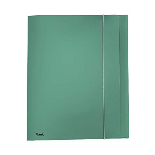 Favorit Cartella con 3 lembi con elastico Metal formato 24X33 cm dorso 0-1 Verde metallizzato