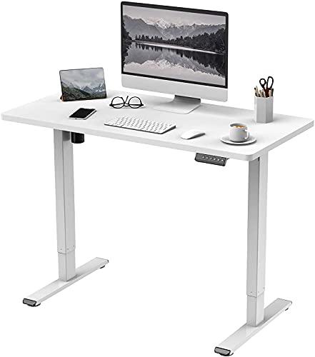 Flexispot E1 Elektrisch Höhenverstellbarer Schreibtisch mit Tischplatte 2-Fach-Teleskop, mit Memory-Steuerung (120 x 80 cm, Weiß)