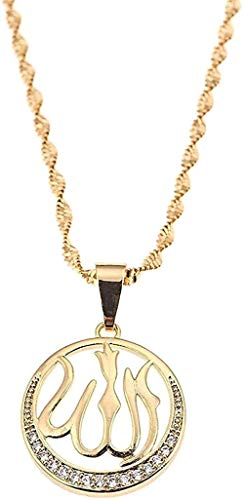 Yaoliangliang Necklace Gold Color Allah Islam Muslim Pendant Necklace For Women Men Arab Religion Round Chain Jewelry