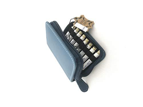Kinder-Taschenapotheke, blau, -PORTOFREI-,16 Mittel á 1,2g Globuli in UV-Schutzglas-Röhrchen in einem hochwertigen Leder Etui mit Strahlen-Abschirmung,Globuli Tasche,Globuli Mäppchen,,