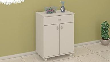 خزانة خشبية بباب واحد للتخزين مع درج واحد من ديتاليا، لون ابيض