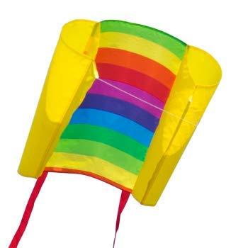CIM Einleiner-Drachen - Beach Kite Rainbow - Einleiner Flugdrachen für Kinder ab 6 Jahren - Abmessung: 74x47cm - inkl. 40m Drachenschnur und Streifenschwänze