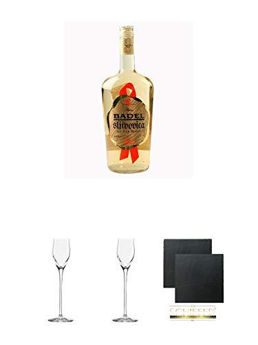 Badel Slivovitz Pflaumenbrand Kroatien 1,0 Liter + 2 Gläser/Untersetzer