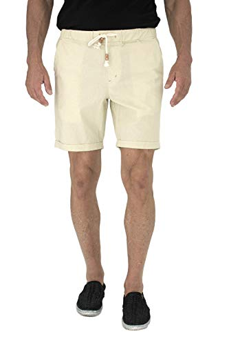 short fin Mens Walking Shorts W/Full Elastic Waist Made Stretch Cotton (Stone Size 30 C8010)
