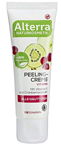 Alterra Naturkosmetik Peelingcreme Vitamin - Für alle Hauttypen, mit Bio-Sheabutter, Vitamin E & Cranberryextrakt, zertifizierte Naturkosmetik, vegan - 50 ml