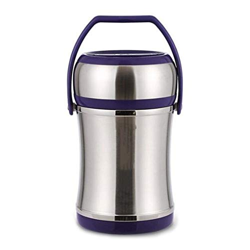 Vacuüm geïsoleerde Voedsel Tank, Stainless Steel Voedsel Thermos grote capaciteit for Volwassen Kinderen 3 Lagen (Color : Purple, Size : 2.5L)