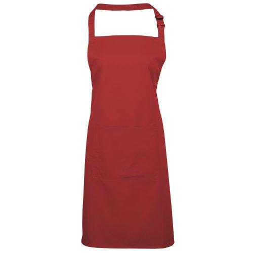 Premier Damen Schürze mit Tasche bunt (2 Stück/Packung) (Einheitsgröße) (Rot)
