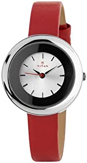 Titan Tagged Women's Silver Dial Leather Band Watch - T2482SL01