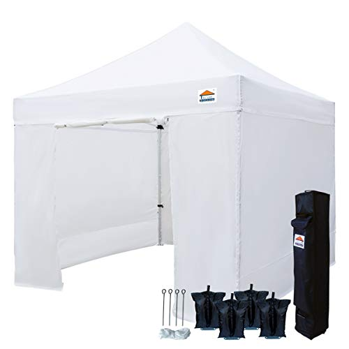 TISTENT 10'x10' Ez Pop Up Canopy Tent Commercial Instant Shelter with Heavy Duty Carrying Bag and 4 Removable Side Walls, 4 Canopy Sand Bags White