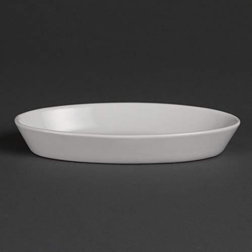 Olympia w434 Whiteware Plat à sole ovale, blanc (Lot de 6)